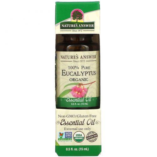 Nature's Answer, Органическое эфирное масло, 100% чистый эвкалипт, 15 мл
