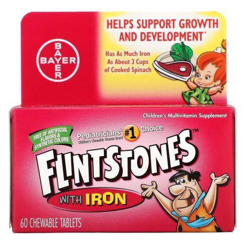 Flintstones, Детские мультивитамины с железом, фруктовый вкус 60 жевательных таблеток