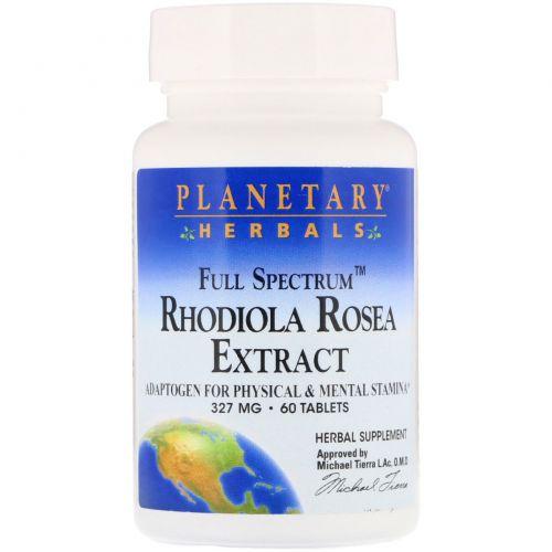 Planetary Herbals, Экстракт родиолы розовой, Полный спектр действия, 327 мг, 60 таблеток