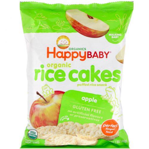 """Nurture Inc. (Happy Baby), """"Счастливый перекус"""", рисовые кексы с яблоком, 1.4 унций (40 г)"""