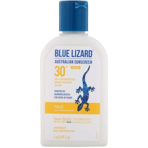 Blue Lizard Australian Sunscreen, Средство для лица SPF 30+, без запаха, 5 унций (141,7 г)