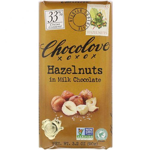 Chocolove, Молочный шоколад с фундуком, 3.2 унции (90 г.)