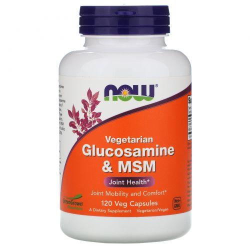 Now Foods, Глюкозамин и метилсульфонилметан, вегетарианский, 120 капсул на растительной основе