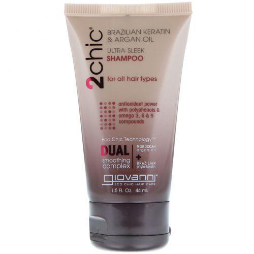 Giovanni, (710 ml)2chic, ультра-гладкий шампунь для всех типов волос, бразильский кератин и аргановое масло, 44 мл