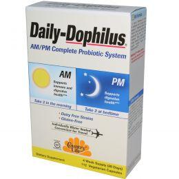 Country Life, Daily-Dophilus, полная система пробиотиков для приёма утром/вечером, 112 капсул в растительной оболочке
