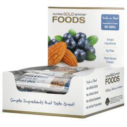 California Gold Nutrition, Foods, жевательные батончики-мюсли с дикой черникой и миндалем, 12 батончиков, 1,4 унц. (40 г) каждый