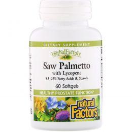 Natural Factors, Со пальметто с ликопеном, 60 мягких капсул