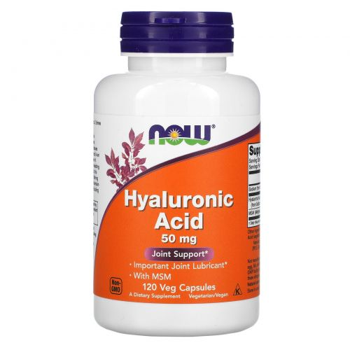Now Foods, Hyaluronic Acid With MSM, 120 вегетарианских капсул