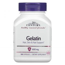 21st Century, Желатин, 600 мг, 100 капсул