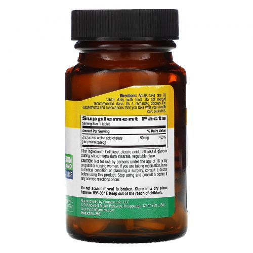Country Life, Цинк, хелатный, 50 мг, 100 таблеток