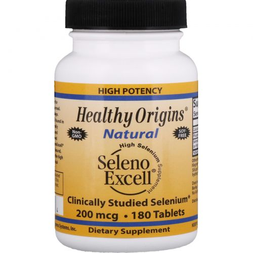 Healthy Origins, Seleno Excell, 200 мгк, 180 таблеток