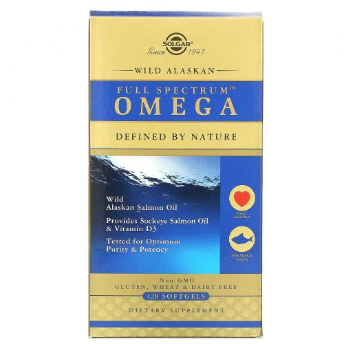 Solgar, Full Spectrum Omega, Wild Alaskan Salmon Oil, 120 Softgels