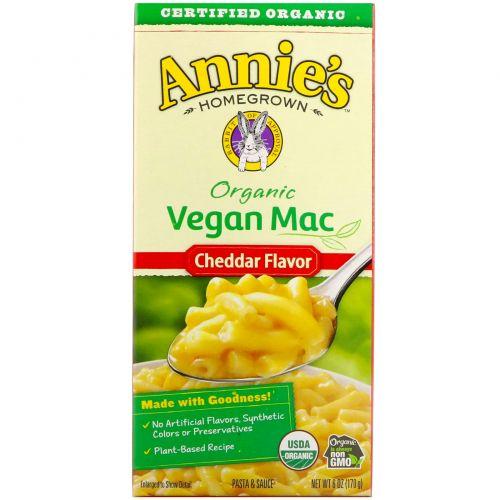 Annie's Homegrown, Органический веганский мак, Вкус сыра чеддер, 6 унц. (170 г)