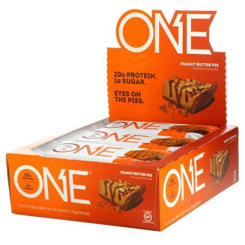 Oh Yeah!, Батончики One, со вкусом пирога с арахисовым маслом , 12 батончиков по 2.12 унции (60 г)