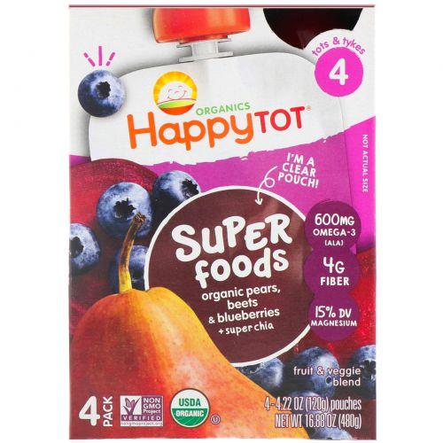 """Nurture Inc. (Happy Baby), Фруктово-овощная смесь из серии """"Счастливый карапуз"""" c органической грушей, черникой и свеклой с добавлением супер-семян чиа, 4 этап, 4 пакета по 4,22 унции (120 г)"""