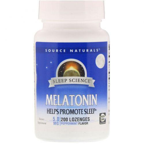 Source Naturals, Мелатонин, сублингвальные таблетки со вкусом перечной мяты, 5 мг, 200 таблеток