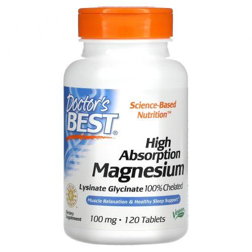 Doctor's Best, Магний, высокая усвояемость, 100% хелатный, 120 таблеток