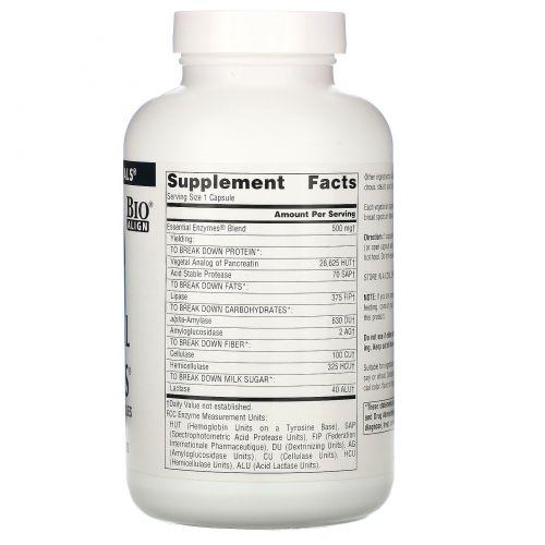 Source Naturals, Важнейшие вегетарианские ферменты на каждый день, 500 мг, 240 капсул