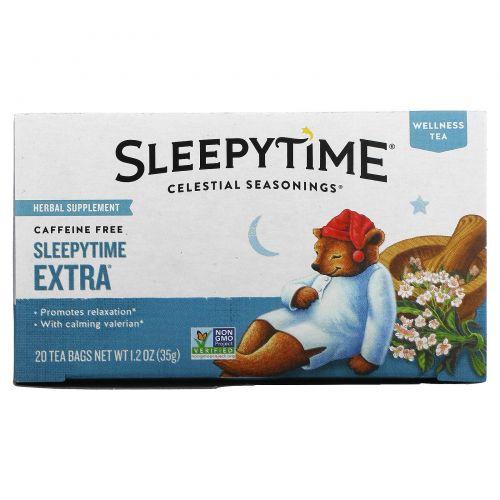 Celestial Seasonings, Велнес-чай Sleepytime Extra, без кофеина, 20 чайных пакетиков, 1,2унции (35г)