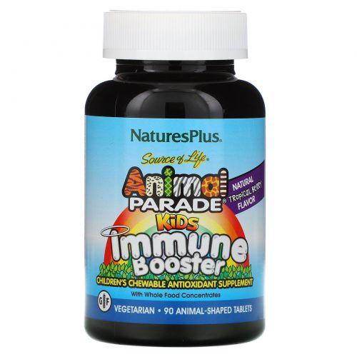 Nature's Plus, Источник жизни, Жевательные таблетки для детей для защиты иммунитета со вкусом тропических ягод, 90 животных