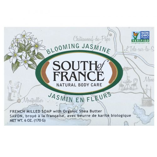 South of France, Цветущий жасмин, французское пилированное овальное мыло с органическим маслом ши, 6  унций (170 г)