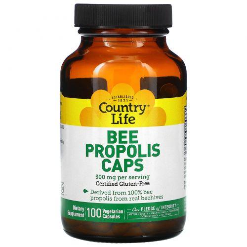 Country Life, Пчелиный прополис, 500 мг, 100 вегетарианских капсул