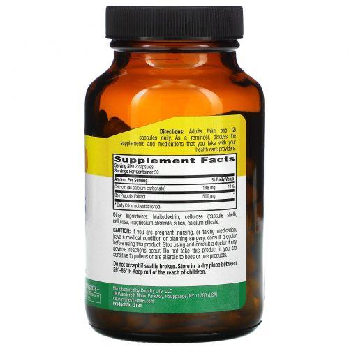 Country Life, Пчелиный прополис в капсулах, 500 мг, 100 вегетарианских капсул