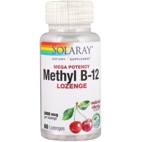 Solaray, Methyl B-12, Cherry , 5000 mcg, 60 Lozenges