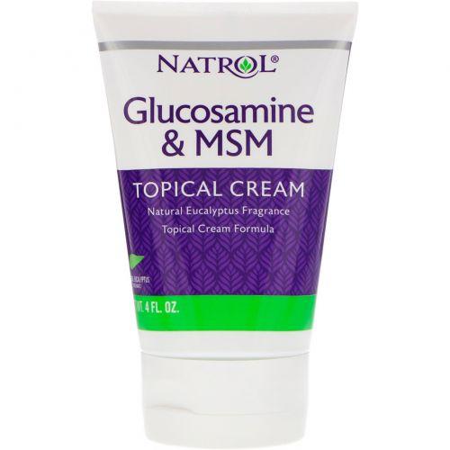 Natrol, Глюкозамин и МСМ, крем для местного применения, 4 ж.унц. (118 мл)