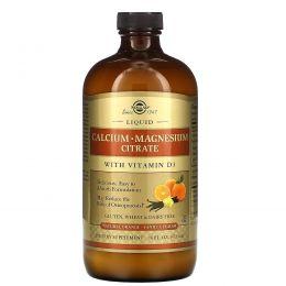 Solgar, Цитрат кальция и магния, с витамином D3, в жидкой форме, с натуральным ванильно-апельсиновым вкусом, 16 жидких унций (473 мл)