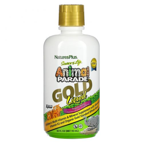"""Nature's Plus, Энергетическая добавка Source of Life, Animal Parade, """"золотая жидкость"""", натуральный аромат тропических ягод, 30 ж. унц (887,10 мл)"""