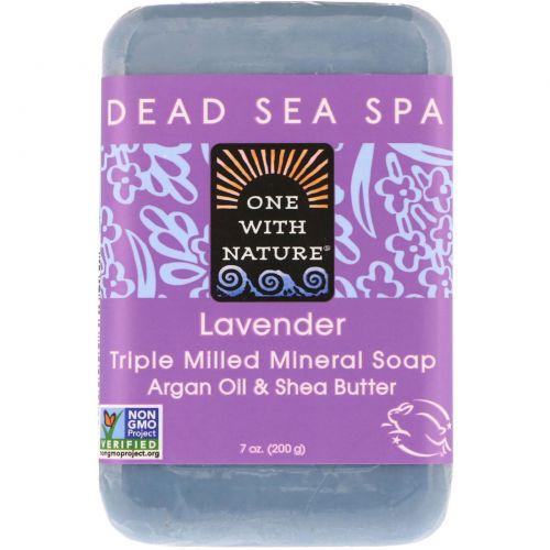One with Nature, Трижды пилированное мыло с ароматом лаванды, 7 унций (200 г)