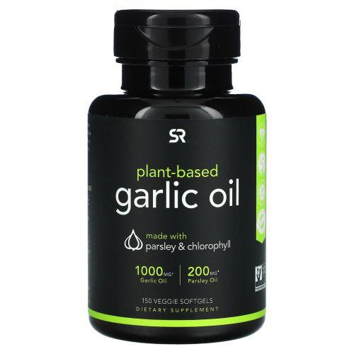 Sports Research, Чесночное масло с петрушкой и хлорофиллом растительного происхождения, 150растительных мягких таблеток