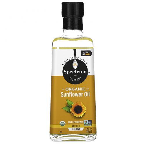 Spectrum Naturals, Органическое подсолнечное масло для готовки на сильном огне, рафинированное, 16 жидких унций (473 мл)