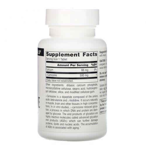 Source Naturals, L-карнозин, 500 мг, 60 таблеток