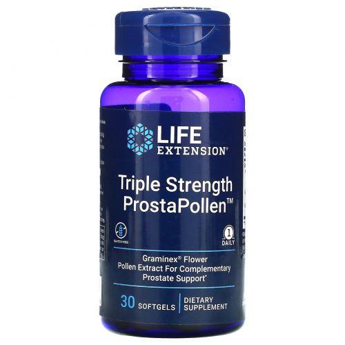 Life Extension, Простаполлен, тройная сила, 30 желатиновых капсул