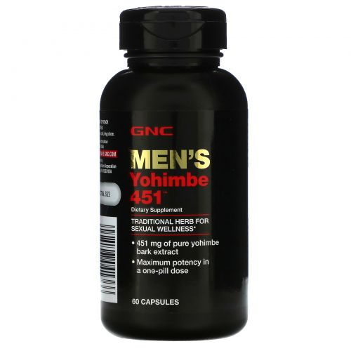 GNC, Men's Yohimbe 451, йохимбин для мужчин, 451мг, 60капсул