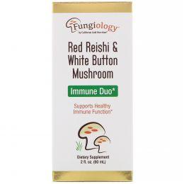California Gold Nutrition, Fungiology Red Reishi & White Button Mushroom, Immune Duo, 2 fl oz (60 ml)