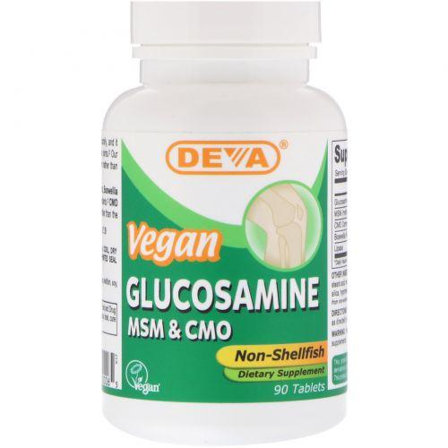 Deva, Веганский глюкозамин, метилсульфонилметан & цетил миристолеат, Не из моллюсков, 90 таблеток