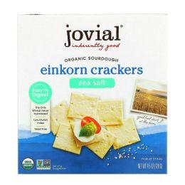 Jovial, Органические бездрожжевые крекеры с морской солью из пшеницы однозернянки, 4,5 унц. (128 г)