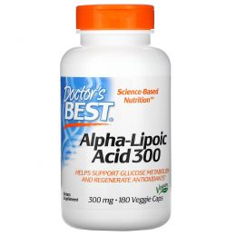Doctor's Best, Альфа-Липоевая кислота, 300 мг, 180 капсул