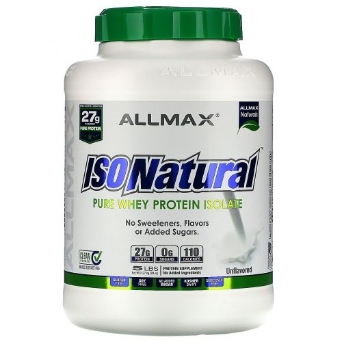 ALLMAX Nutrition, IsoNatural, 100% Ultra-Pure Natural Whey Protein Isolate (WPI90), Unflavored, 5 lbs (2.25 kg)