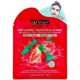 Freeman, Feeling Beautiful, маска для очищения пор, клубника + мята, 1 маска