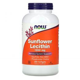 Now Foods, Лецитин из подсолнечника, 1200 мг, 200 желатиновых капсул