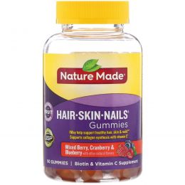 Nature Made, Жевательные пастилки для взрослых для здоровья волос, кожи и ногтей, со вкусом смеси ягод — клюквы и черники, 90 пастилок
