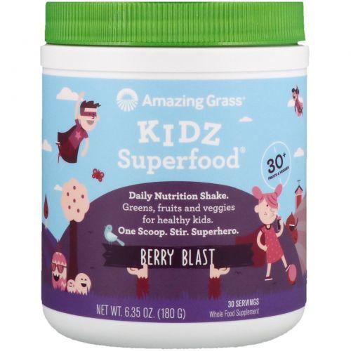Amazing Grass, Kidz SuperFood, дикие ягоды, 6,5 унции (180 г)