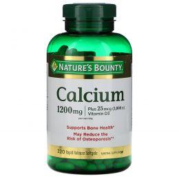 Nature's Bounty, Кальций плюс витамин D3, 1200 мг/1000 МЕ, 220 мягких таблеток с быстрым высвобождением действующего вещества