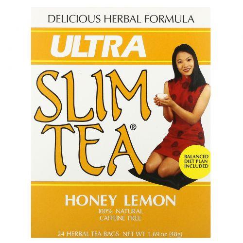 Hobe Labs, Чай для похудения Ultra Slim, мед с лимоном, 24 пакетика травяного чая, 1,69 унции (48 г)