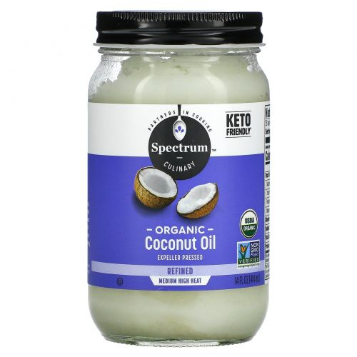 Spectrum Naturals, Органическое кокосовое масло, рафинированное, 14 ж. унц. (414 мл)