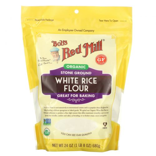Bob's Red Mill, Мука из органического белого риса, без глютена, 680г (24унции)